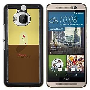 La bella y la Bestia- Metal de aluminio y de plástico duro Caja del teléfono - Negro - HTC One M9+ / M9 Plus (Not M9)