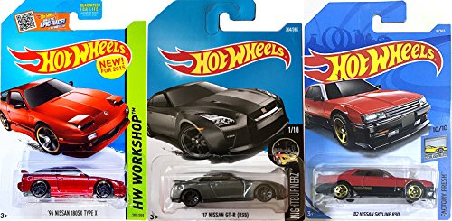 Hot Wheels Nissan First Editions series 3-Pack cars New 2018 '82 Skyline R30 #6 / New 2015 '96 180SX Type X #205 Workshop /#364 Model '17 GT-R (R35) new Tool 2017 in PROTECTIVE CASES