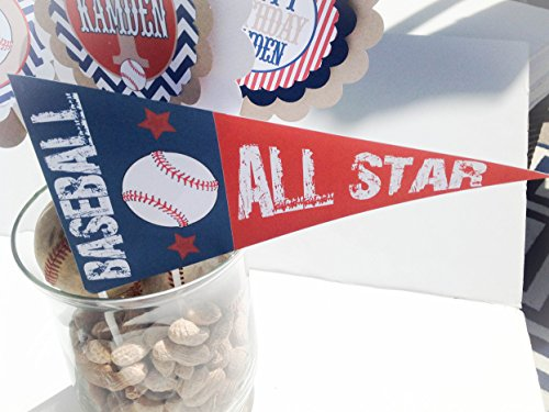 3 Centerpieces & 1 Pennant Flag - Vintage Baseball Collection - Navy Blue Chevron, Red Stripe with Malt Brown Accent - Party Packs (Malts Collection)