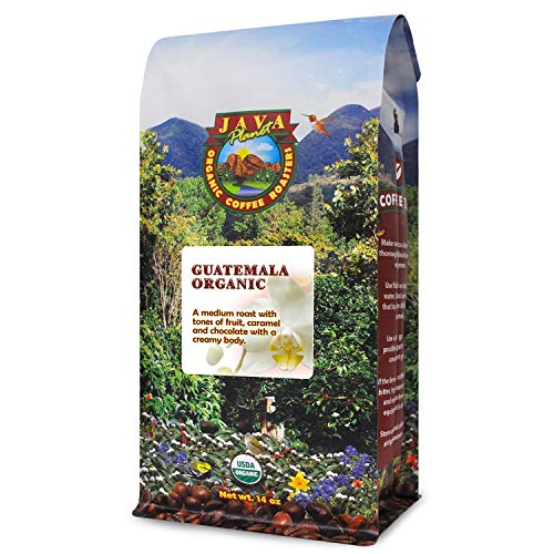 Java Planet – Guatemalan USDA Gourment Organic Coffee Beans, Medium Roast, Fair Trade, Bird Friendly, Arabica Gourmet Specialty Grade A – packaged in 14oz bag