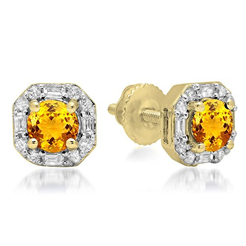 10K Yellow Gold Round Citrine & Baguette & Round White Diamond Ladies Halo Style Stud Earrings - Citrine Baguette