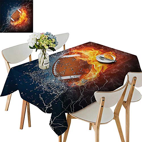 UHOO2018 Square/Rectangle Polyester Tablecloth Table Cover Ball Fire and Water Flame Splashing Thunder Lightning Abstract for Dining Room,52 x 108inch
