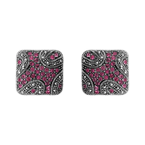 - Aura 925 Sterling Silver Earring Rose Crystal, Marcasite