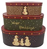 Craft Outlet Large Winter Blessings Holiday Nesting Box (Set of 3), 15.25'' x 8.5'' x 5.5''/13.25'' x 6.5'' x 5''