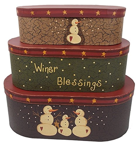 Craft Outlet Large Winter Blessings Holiday Nesting Box (Set of 3), 15.25'' x 8.5'' x 5.5''/13.25'' x 6.5'' x 5'' by Craft Outlet Inc