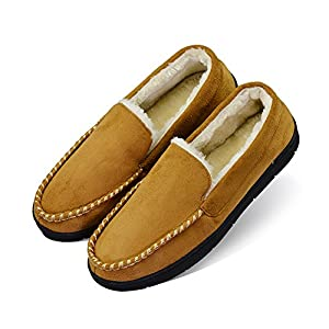 Men's Plush Lined Casual Indoor Outdoor Moccasin Slippers with Anti-Slip Memory Foam (FBA)
