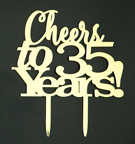 LOVELY BITON Gold Cheers to 35 Years Cake Topper Shining Numbers Letters for Wedding, Birthday, Anniversary, Party.