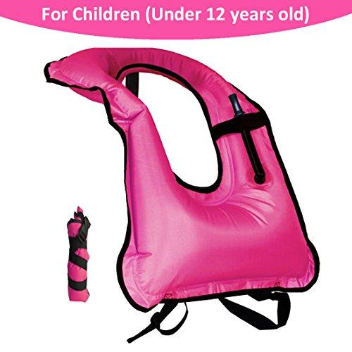 Lesberg Children Snorkel Vests Inflatable life Vests kids Free Diving Swimming Safety Boys Girl (Pink)