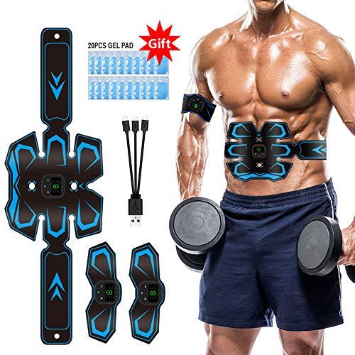 🥇 Electroestimulador Muscular Abdominales EMS stimulador Abdominales USB 3 in 1Recargable Estimulación Muscular Masajeador Eléctrico 20 Pcs Parches de Gel Reemplazables…