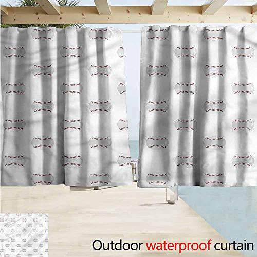 Darkening Curtains Baseball Flat Design Balls Pattern Room Darkening, Noise Reducing W72x63L Inches