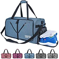 SUNPOW 65L Travel Duffle Bag, Sport Gym Bag with Shoe Compartment, Lightweight Luggage Duffel Bags for Men Women