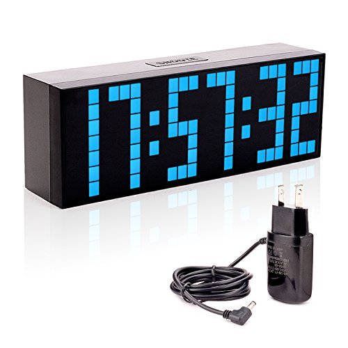 Leadleds Digital LED Clock, Big Number Blue LED Alarm Clock Desk Wall Timer with Countdown Calendar Temperature