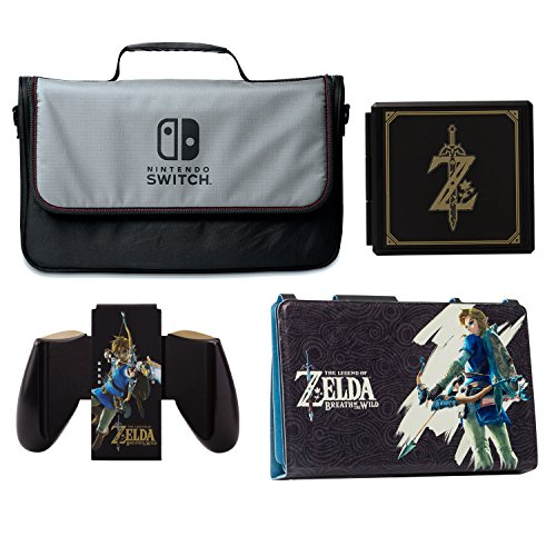 PowerA Everywhere Messenger Bag with Legend of Zelda Hybrid Cover, Joy-Con Comfort Grip & Premium Card Case Kit - Nintendo Switch by BD&A