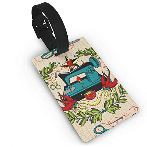 - CuteToiletLidABC Sewing Tattoo Funny Pattern PVC Travel Luggage Tag with Strap for Baggage Bag/Suitcases - Business Card Holder Name ID Labels Set for Travel Size 2.2 X 3.7 inches