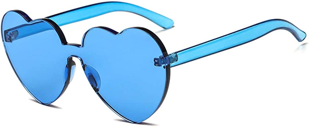 Armear Candy Colored Lens Rimless Heart Shaped Sunglasses for Women Girls Colorful Shades
