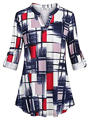 Sixother 3/4 Roll Up Long Sleeve Blouse Casual V Neck Plaid Tunic Tops for Women