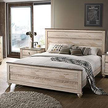 Roundhill Furniture B132K Imerland Contemporary White Wash Finish Panel  King Bed,