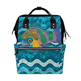 FENNEN Sea Fish Travel Backpack Casual School Laptop Backpack Large Capacity Shoulder Diaper Lightweight Bag for Womens Mens