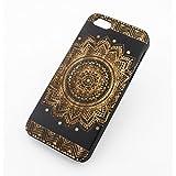 "Black Ink Bamboo Wood Cover for Apple IPHONE 5 / 5S - ""Sundala Mandala"" sun hindu ganesh buddhist indian flower floral"