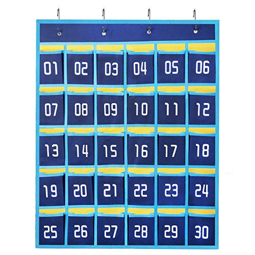 100 Numbered Hooks (HBlife Numbered Classroom Pocket Chart Cell Phones Holder Wall Door Hanging Organizer (30 Pockets))