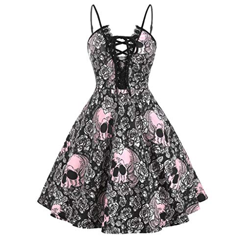 FEDULK Womens Dress Vintage Halloween Costume Knotted Sleeveless A-line Prom Party Dress(Pink, ()