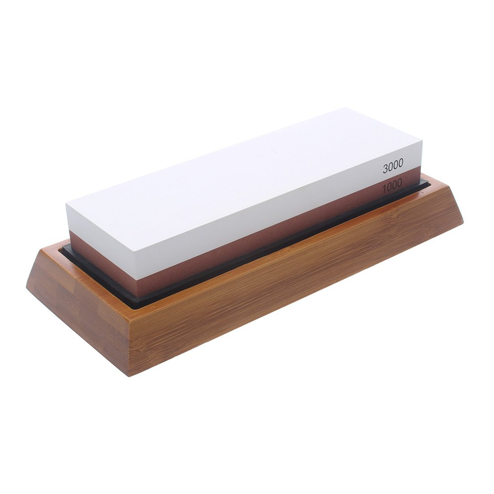 SMITH CHU Whetstone Sharpening Stone-Dual Sided Grit Water Stone-Premium Knife Sharpener Stone with Non-slip Bamboo Base Holder-Polishing Tool for Kitchen Knives,Scissors,Razors,Swords (3000/1000) by Smith Chu (Image #1)