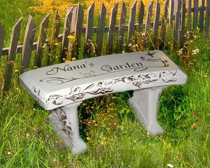 Hand Crafted Personalized Cast Stone Garden Bench By Southwest Graphix