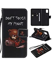 Miagon Full Body Case for Samsung Galaxy A71,Colorful Pattern Design PU Leather Flip Wallet Case Cover with Magnetic Closure Stand Card Slot,Chainsaw Bear