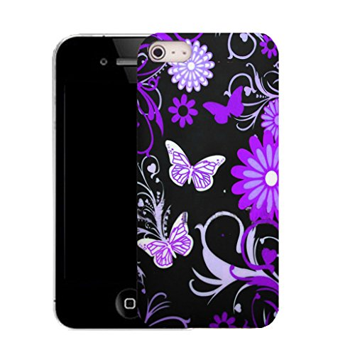Mobile Case Mate IPhone 5S clip on Silicone Coque couverture case cover Pare-chocs + STYLET - purple swoosh butterfly pattern (SILICON)
