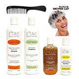 Etae Natural Products Carmelux Shampoo, Conditioner, Gloss, E'tae Carmel Treatment Combo Kit (4 items) with Shower Cap and Shampoo Comb