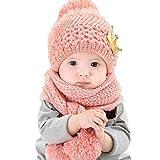 Datework Hat + Scarf ,Cute Baby Kids Girls Boys Warm Woolen Coif Hood Scarf Caps Hats (Pink) by...