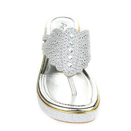 Aarz señoras de las mujeres de la cuña de la tarde ocasional del talón de la sandalia Diamante tamaño de los zapatos (Oro, Champagne, Plata) Plata