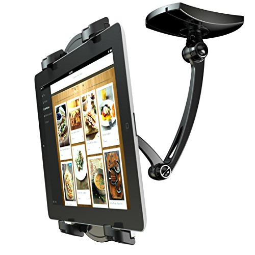 Loctek Full Motion Gas Spring LCD Arm Quad Monitor Mount Desk, Fits 10''-27'' Computer Monitor (Swing Arm Pole Mount)