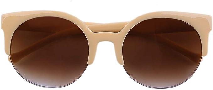 Fashion Unisex Classic Round Circle Frame Semi-Rimless Eyewear Sunglasses,Garciakia