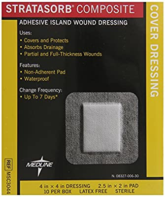 Medline Dressing Stratasorb Comp Island, 10 Count