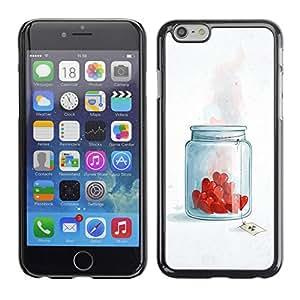 Carcasa Funda Prima Delgada SLIM Casa Case Bandera Cover Shell para Apple Iphone 6 / Business Style Jar Of Love Hearts
