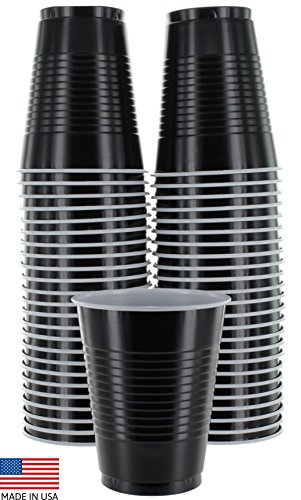 Amcrate Black Colored 16-Ounce Disposable Plastic Party Cups - Ideal for Weddings, Party?s, Birthdays, Dinners, Lunch?s. (Pack of 50)