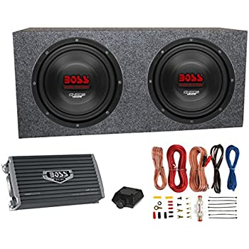 amazon com belva 1200 watt complete car subwoofer package 2 boss ch10dvc 10 3000w car subwoofers subs sealed box enclosure amp amp kit