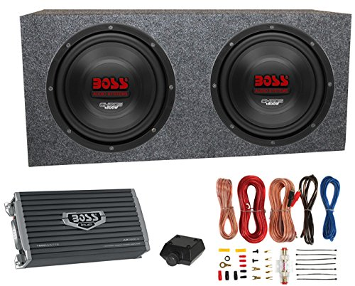 2) Boss CH10DVC 10 3000W Car Subwoofers Subs+Sealed Box Enclosure+Amp+Amp Kit