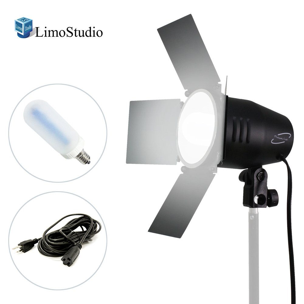 LimoStudio 150 Watt, JDD Frost Halogen Bulb Barn Door Lamp with Reflector, Light Stand Tripod, 4 inch Lamp Diameter, On/Off Switch, E26 Standard Base, Continuous Lighting Photo Video Studio, AGG2033