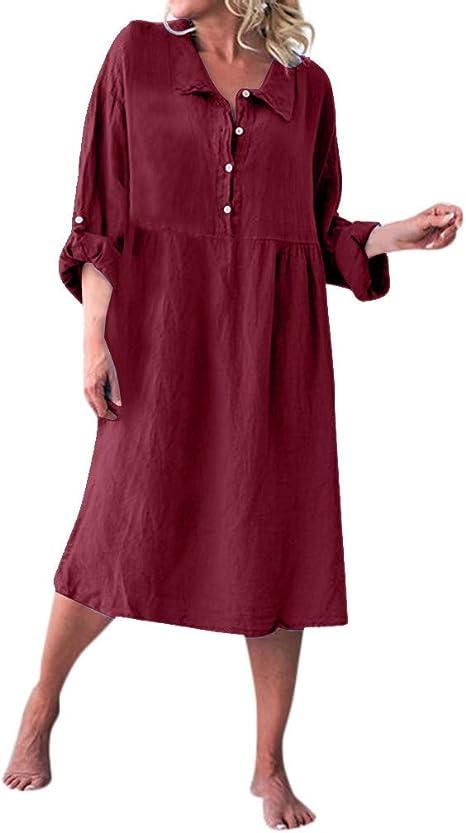 ღLILICATღ Vestimenta Casual de Playa para Mujer Vestidos de Verano de Casual Suelta Algodón Sólido Manga Larga Camisa Vestido: Amazon.es: Deportes y aire libre