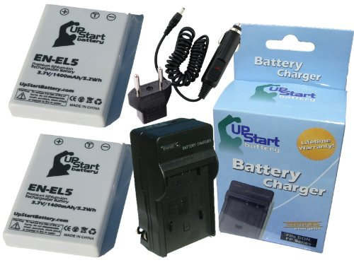 2x Pack - Nikon EN-EL5 Digital Camera Battery and Charger Replacement with Car & EU Adapter (1400mAh, 3.7V, Lithium-Ion) - Compatible with Nikon Coolpix P520, Coolpix P510, Coolpix P500, Coolpix P100, Coolpix P90, Coolpix P80, Coolpix P6000, EN-EL5, Coolpix 5200, Coolpix P5100, Coolpix 7900, Coolpix S10, Coolpix P5000, Coolpix 4200, MH-61, Coolpix P4, Coolpix 5900, Coolpix 3700, Coolpix P3, CP1