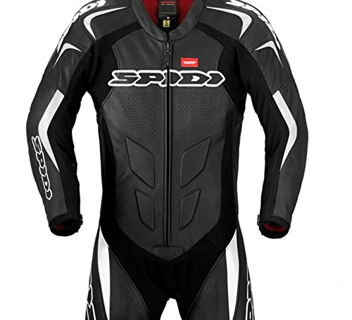 Spidi ''Supersport Wind Pro'' 1-Piece Motorcycle Leather Suit (Black/White) Size 48 US / 58 EU by Spidi Leathers Italy (Image #1)