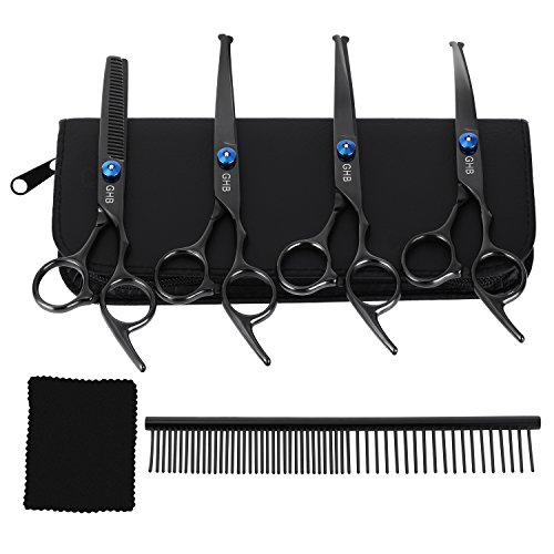 GHB Grooming Scissors Pet Grooming Scissors Set for Dogs with Rounded Tip...