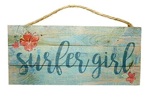 (P. Graham Dunn Surfer Girl and Hibiscus Flowers Rustic Wood Sign - Hawaiian Beach House Decor, 10 x 5 inch)