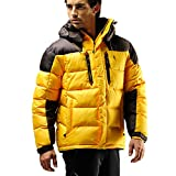 FUERZA Mens Winter Down Wellon Hooded Heavy Duty Parka Jacket - Yellow (Large)