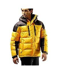 FUERZA Mens Winter Down Wellon Hooded Heavy Duty Parka Jacket - Yellow