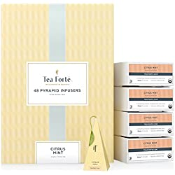 Tea Forté BULK PACK Citrus Mint Herbal Tea, 48 Handcrafted Pyramid Tea Infusers