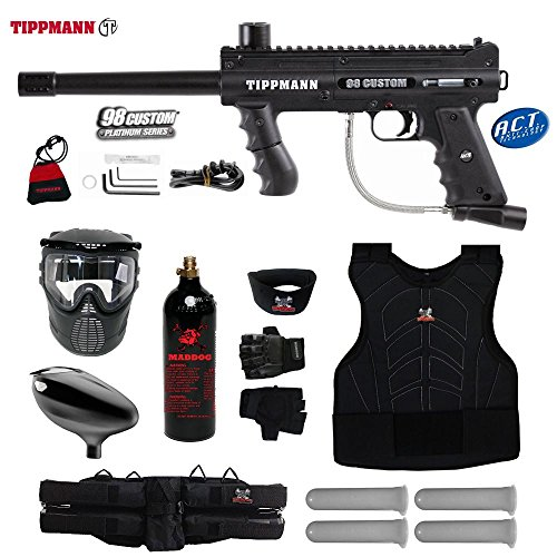 MAddog Tippmann 98 Custom ACT Starter Protective CO2 Paintball Gun Package - Black