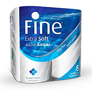 Fine Extra Soft Toilet Tissue Rolls  - Pack of 8 Rolls, 200 Sheets x 2 Ply